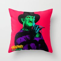 freddy krueger Throw Pillows featuring KRUEGER by UNDEAD MISTER / MRCLV