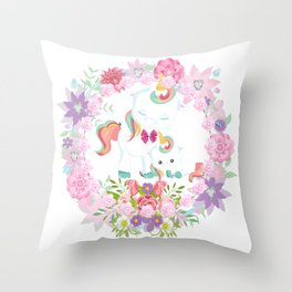 Flowers Hearts and Unicorns Throw Pillow