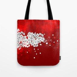 Red skies and white sakuras Tote Bag