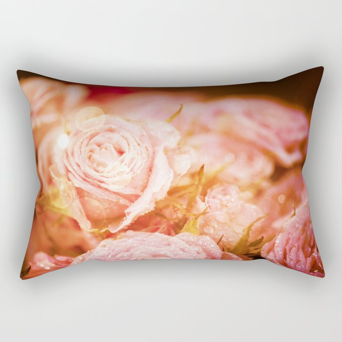 Roses with waterdroplets and bokeh Rectangular Pillow