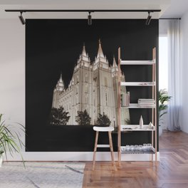 Salt Lake Temple Lit Up at Night Wall Mural