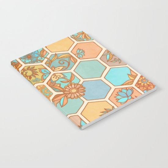 Golden Honeycomb Tangle - hexagon doodle in peach, blue, mint & cream Notebook