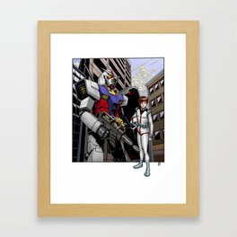 Gundam and Amuro Ray Framed Art Print