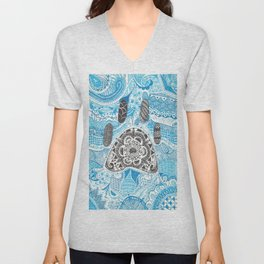 Zentangle Paw Print with Background Unisex V-Neck