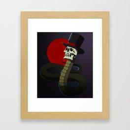 Top Hat Snake Skull Framed Art Print