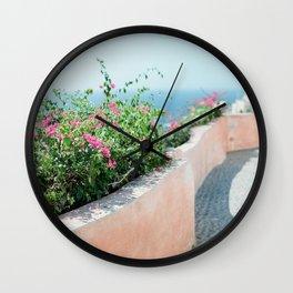 Walking in Santorini Wall Clock