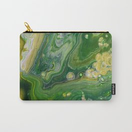Take Five II -  Green Yellow Fluid Marble Painting Carry-All Pouch