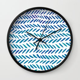 Watercolor knitting pattern - teal Wall Clock