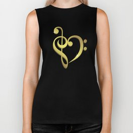 Treble clef, bass clef music heart love Biker Tank