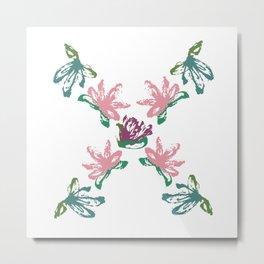 Floral X Monogram Metal Print