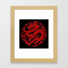 Traditional Red Chinese Dragon Circle Framed Art Print