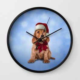 English Cocker Spaniel in red hat of Santa Claus Wall Clock