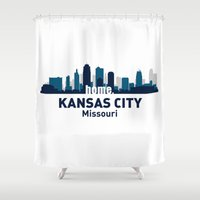 kansas city Shower Curtains featuring KANSAS CITY HOME by Random Acts of Design