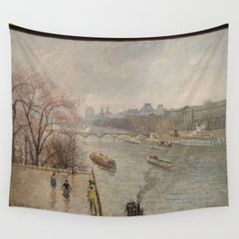 Camille Pissarro - The Louvre, Afternoon, Rainy Weather (First Series) Wall Tapestry