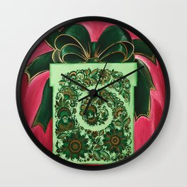 Gift box with an atlas bow in petrykivka style Wall Clock