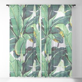 Tropical Banana leaves pattern Sheer Curtain