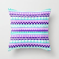 Purple Turquoise Inca Pattern Throw Pillow