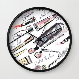 Fashion pattern with cosmetic in watercolor style Wall Clock