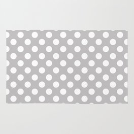 Large Polka Dots in White on Light Gray Rug