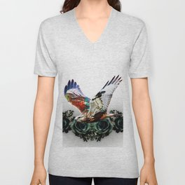 Hawk and flowers Unisex V-Neck