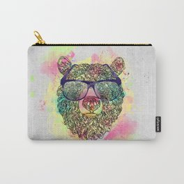 Cool watercolor bear with glasses design Carry-All Pouch