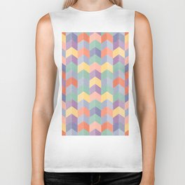 Colorful geometric blocks Biker Tank