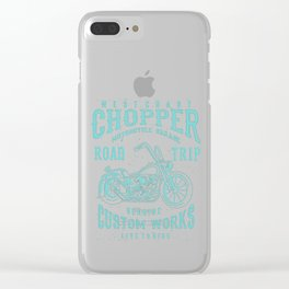 Retro Motorcycle Chopper Typography Clear iPhone Case