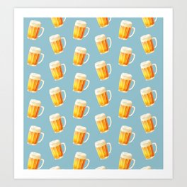 Ice Cold Beer Pattern Art Print