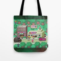earthbound Tote Bags featuring Earthbound town by likelikes