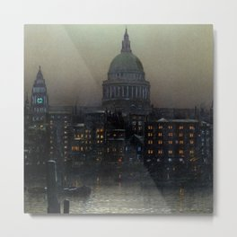 St. Paul's Cathedral on the River Thames, London by Louis H. Grimshaw Metal Print