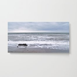 Cloudy Day on the Beach Metal Print