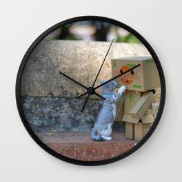 Danbo and cat #11 Wall Clock