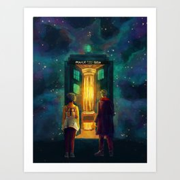 The Doctor, Bill and the kitchen Art Print