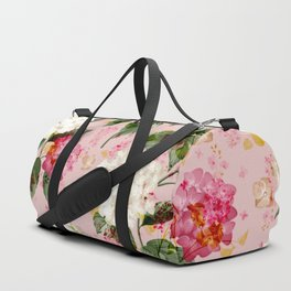 Vintage green pink white bohemian hortensia flowers Duffle Bag