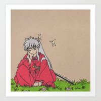 inuyasha Art Prints featuring InuYasha by MoonKitty Designs