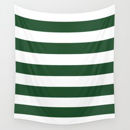 Cal Poly Pomona green - solid color - white stripes pattern Wall Tapestry