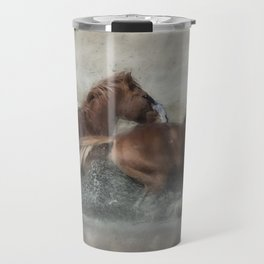 Mustangs Getting Out of a Muddy Waterhole the Fast Way painterly Travel Mug