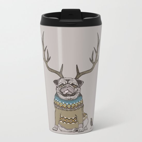 Deer Pug Metal Travel Mug