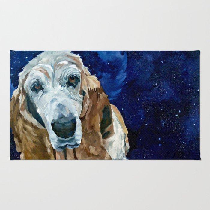 Basset Hound Nebula Stickers Dog Portrait Rug