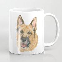 german shepherd Mugs featuring German shepherd - in color by Doggyshop