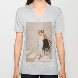 Minimal Woman with a Palm Leaf Unisex V-Neck