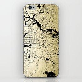 Amsterdam Gold on Black Street Map iPhone Skin