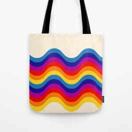 Wavy retro rainbow Tote Bag