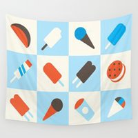 ice cream Wall Tapestries featuring ICE CREAM by Acus