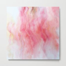 Rose Mineral Marbled Agate Metal Print