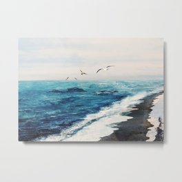 Watercolor Coast Metal Print