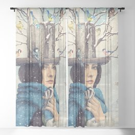 The Lady With The Bird Feeder Hat Sheer Curtain