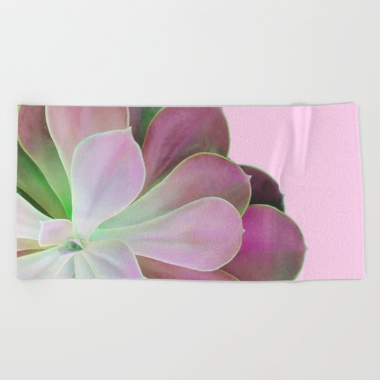 Acid Green and Pink Echeveria Beach Towel