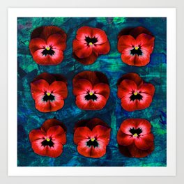 9 red on blue & green Art Print