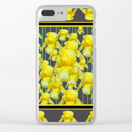 MULTITUDE OF YELLOW IRIS IN GREY PATTERN ART Clear iPhone Case